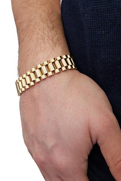 Gold 316 L Çelik Parlak Ve Mat Erkek Bileklik Eh89sr