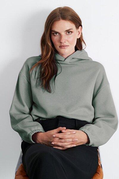 SCARLETT Kadın Yeşil Renk Kapüşonlu Basic Sweatshirt