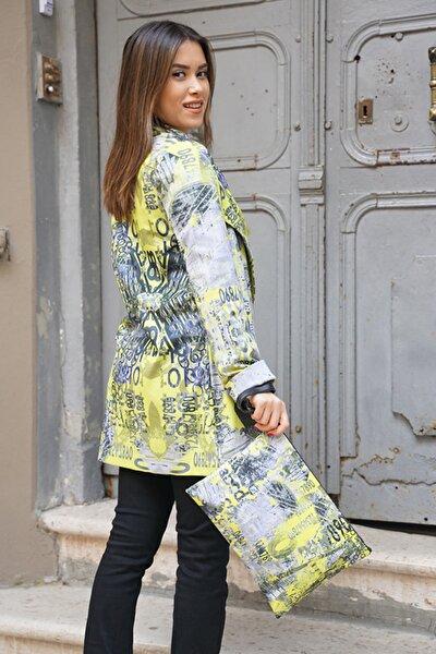 Kadın Sarı Dijital Baskı Ceket ve Clutch Çanta Kombin