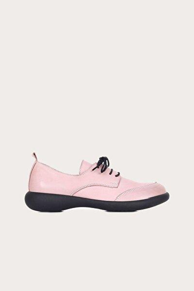 Deri Gül Kurusu Kadın Düz Ayakkabı