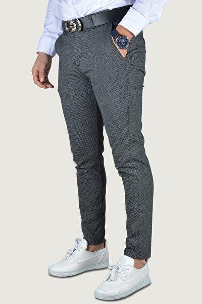 Erkek İndigo Keten Pantolon