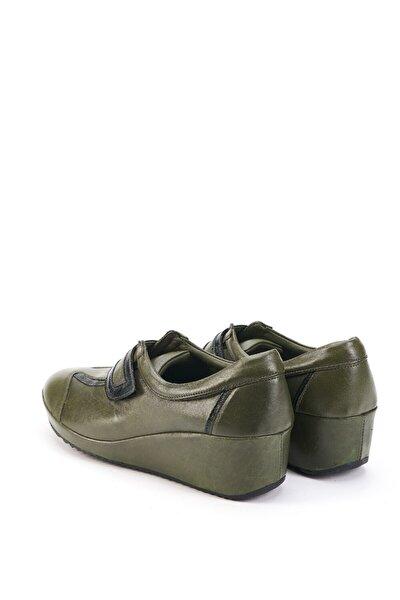 Kadın Yeşil  Deri Dolgu Topuk Ayakkabı