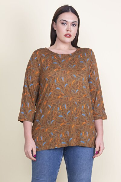 Kadın Hardal Viskon Çiçekli Bluz 65N21053-1