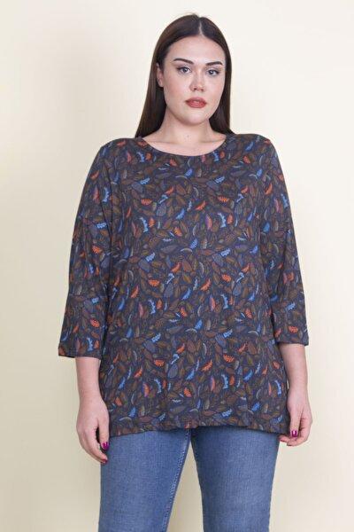 Kadın Lacivert Viskon Çiçekli Bluz 65N21053-1