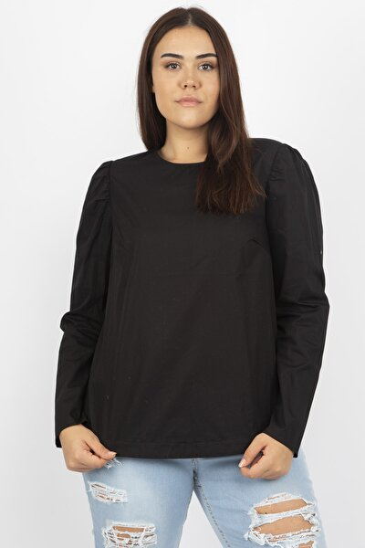 Kadın Siyah Poplin Bluz 65N20826