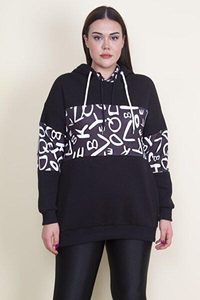 Kadın Siyah Kopşonlu 3 İplik Sweatshirt 65N21098