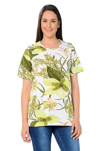 Kadın Yeşil Pamuklu Kumaş Çiçek Desenli Bluz 65N20833