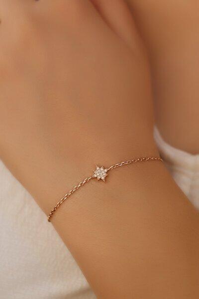 Kadın Beyaz Yıldız Gümüş Bileklik
