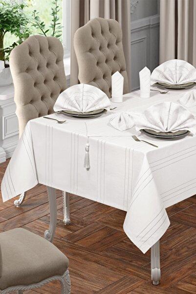 Lüx Colber Masa Örtüsü Seti 12 Kişilik Colber (beyaz)