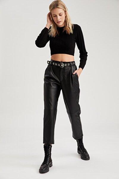 Kadın Black Red Suni Deri Cep Detaylı Yüksek Bel Pantolon T6132AZ20CWBK