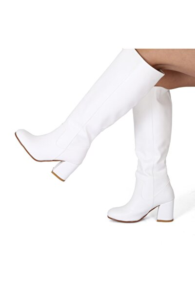 Kadın Beyaz Küt Çizme