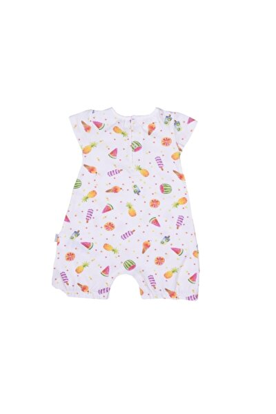 Kız Bebek Ekru Organik Meyveli Tulum S86065