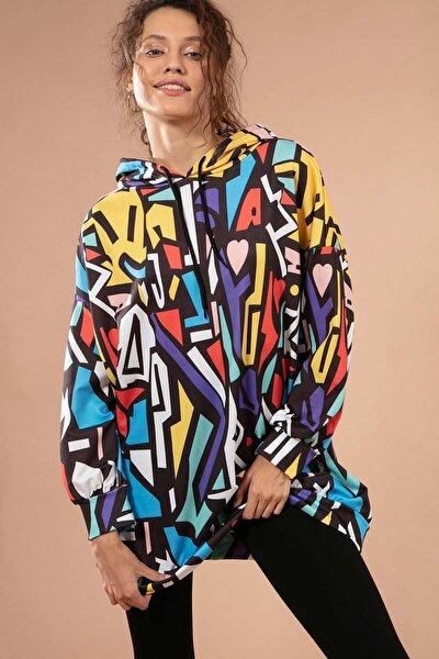 Kadın Grafik Desenli Kapşonlu Oversize Sweatshirt Y20w110-4125-28