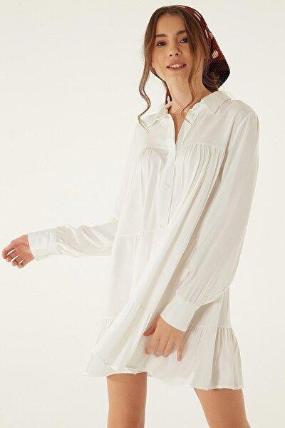 Kadın Beyaz Salaş Uzun Kol Gömlek Elbise P20w201-0728