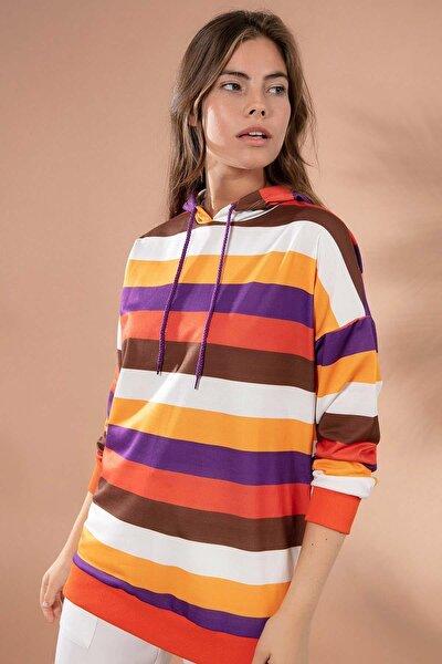 Kadın Renk Bloklu Boyfriend Kapşonlu Sweatshirt Y20w110-4217