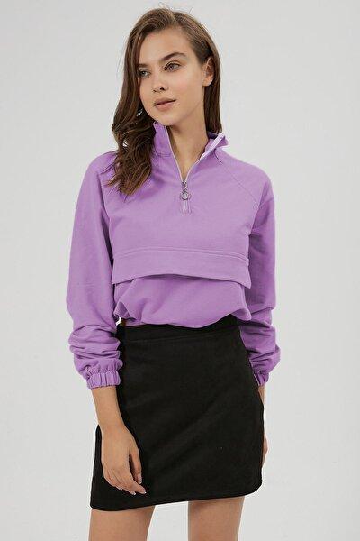 Kadın Süs Kapak Cep Detaylı Crop Sweatshirt Y20w185-1301