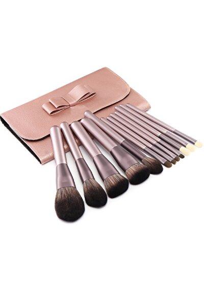 Rose Gold Keçi Kılı Fırça Seti 12 Parça Ve Harika Çantalı
