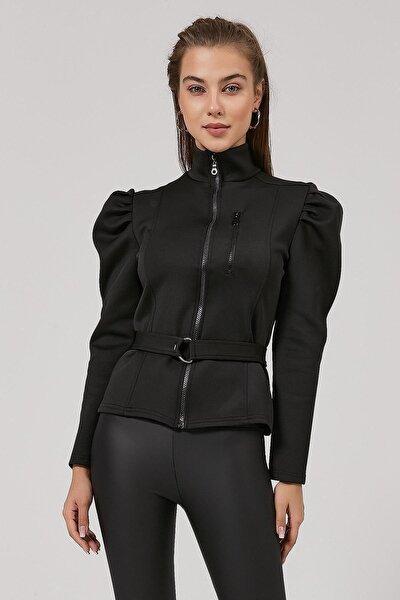 Kadın Kolu Büzgülü Dalgıç Kumaş Fermuarlı Bluz Y20w185-1315