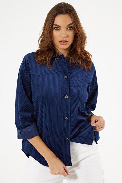 Kadın Lacivert Cep Detaylı Fitilli Kadife Gömlek P20W-3333