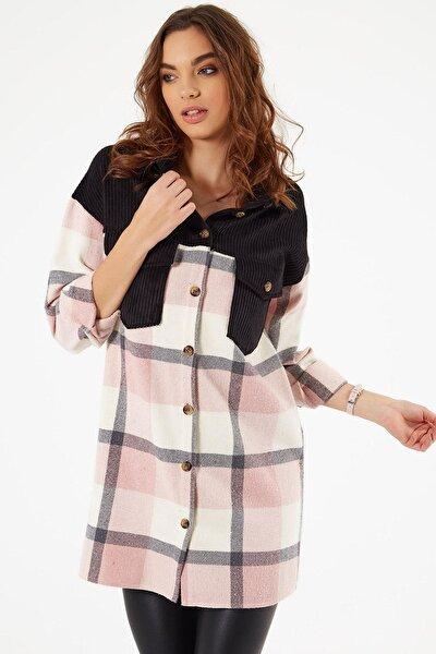 Kadın Kadife Detaylı Uzun Oduncu Gömlek Y20w110-00334