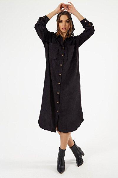 Kadın Kadife Uzun Gömlek Elbise Y20w110-00665
