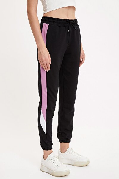 Kadın Siyah Relax Fit Renk Bloklu Jogger Eşofman Altı S1293AZ20AU