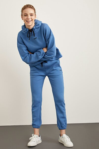 Kadın Blue İçi Yumuşak Tüylü Bağcıklı Relax Fit Jogger Eşofman Altı S7266AZ20WN