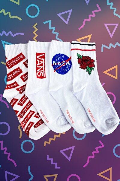 4'lü Efsane Beyazlar Çorap Seti