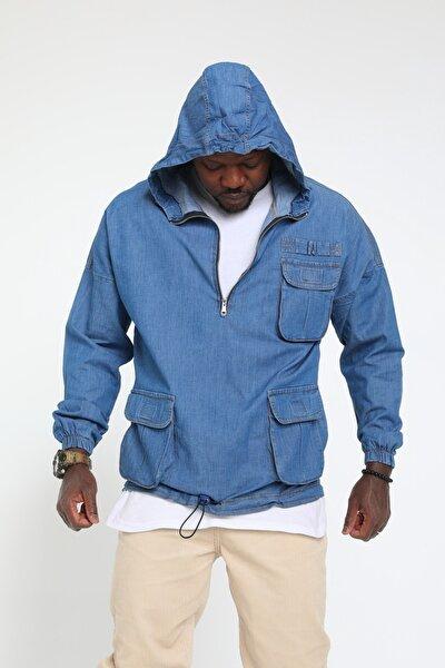 Erkek Mavi Kot Sweatshirt