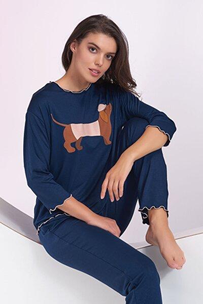 Kadın Lacivert Baskılı Pijama Takım