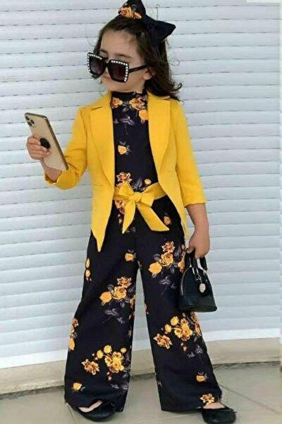 Kız Çocuk 3lü Kombin Takım Sarı Çiçekli