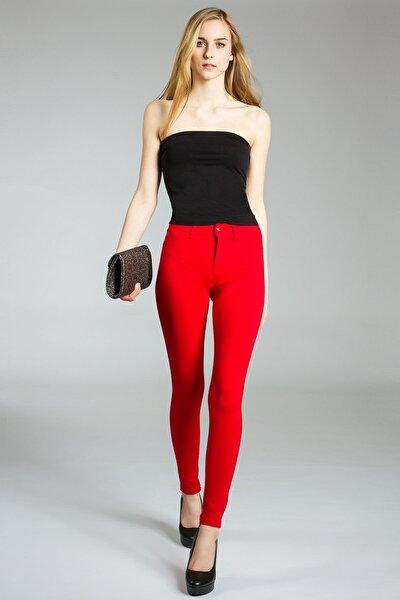 Kadın Kırmızı Streç Dar Model Kot Pantolon