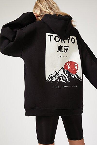 Kadın Siyah Kapüşonlu Polarlı Kışlık Oversize Sweatshirt OX00046