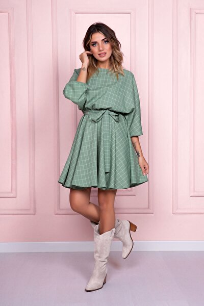 Kadın Mint Kareli Yarasa Kol Beli Lastikli Ve Kemerli Kloş Elbise