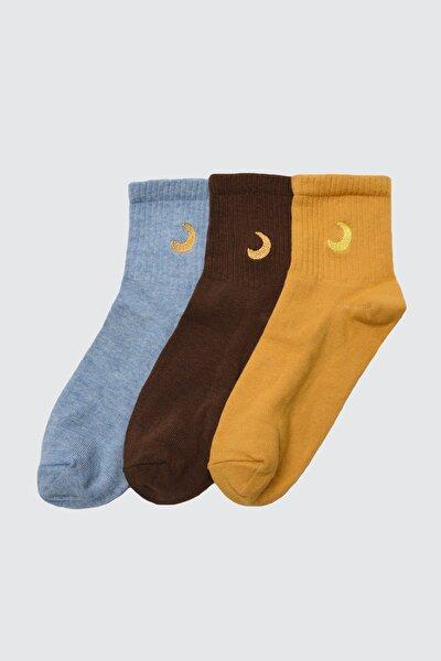 3'lü Çok Renkli Örme Çorap TWOAW21CO0102