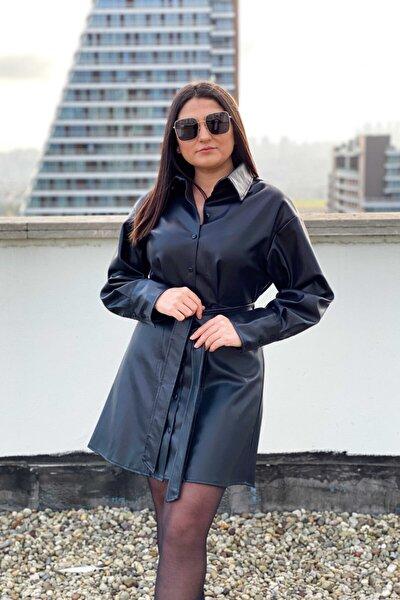Kadın Siyah Kuşaklı Deri Gömlek Elbise