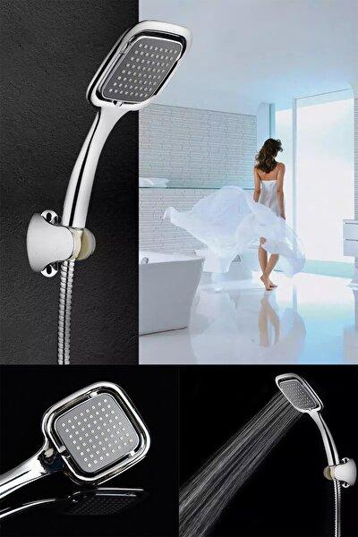 Siyah Kare Banyo Duş Seti Hortum Mafsal Ve Başlık Set