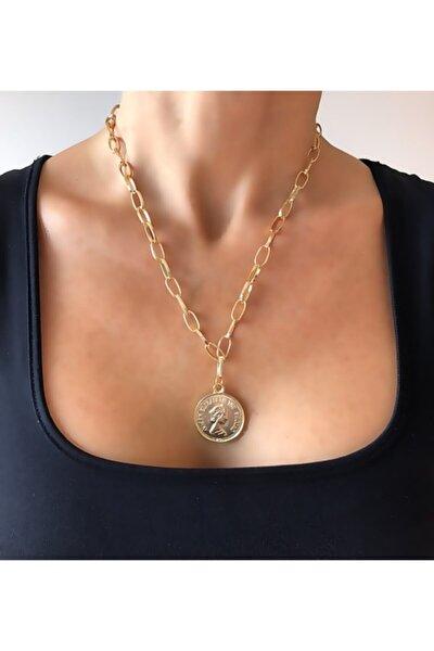 Kadın Altın Renk  Elizabeth Para Detaylı Kalın Zincirli Madalyon Kolye
