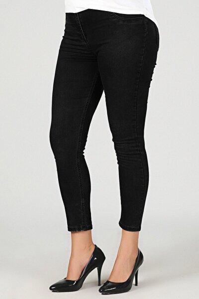 Kadın Siyah Büyük Beden Dar Paça Kot Pantolon G048-1