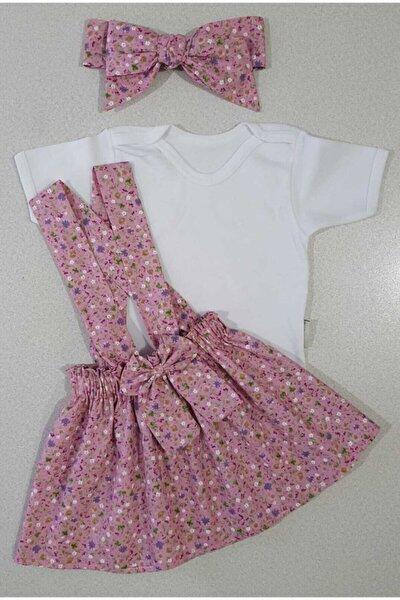 Kız Çocuk Pembe Çıtır Çiçek Elbise Bandana Badi Takım