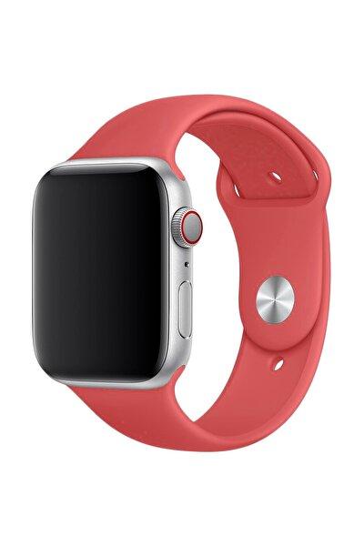 Apple Watch Serisi Uyumlu Slikon Pembe Kordon 42mm - 44mm