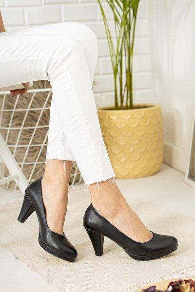 Kadın Siyah Tarz Kısa Topuklu Ayakkabı