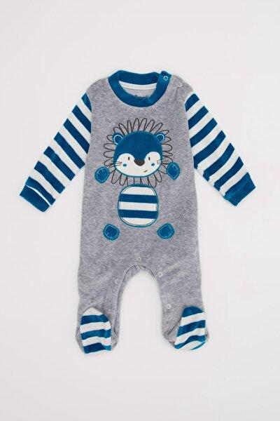 Erkek Bebek Baskılı Kadife Kumaş Patikli Çıtçıtlı Tulum