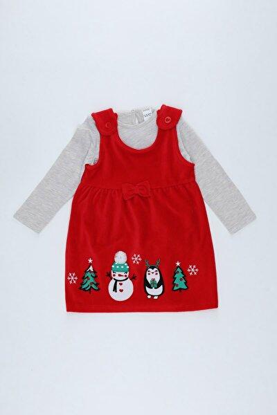 Kız Bebek Yılbaşı Temalı Kadife Elbise Ve Tişört Takım