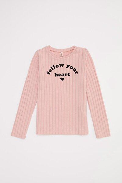 Kız Çocuk Pembe Baskılı Tişört