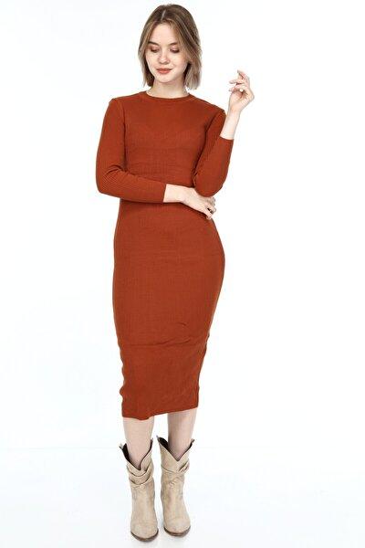 Kadın Triko Elbise Kiremit