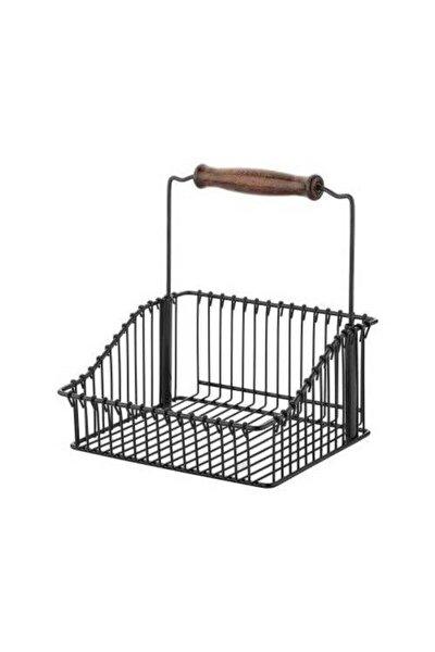 Ferforje Metal Ahşap Saplı Mutfak Sepeti 20*20 (siyah)