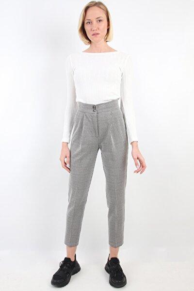 Kadın Siyah Beyaz Pötikareli Yüksek Bel Havuç Kalıp Pantolon