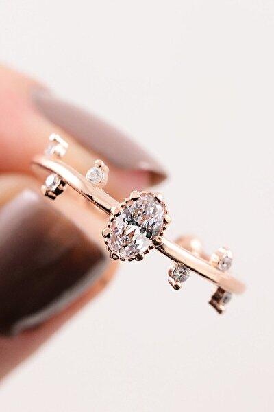 14k Rose Gold Iskandinavya Evlilik Yüzüğü Ayarlanabilir Ölçü