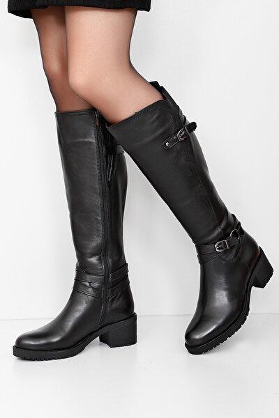 Gön Hakiki Deri Siyah Tokalı Lastikli Kısa Topuk Fermuarlı Günlük Kadın Çizme 44562